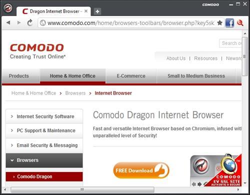 Скриншот программы Comodo Dragon portable