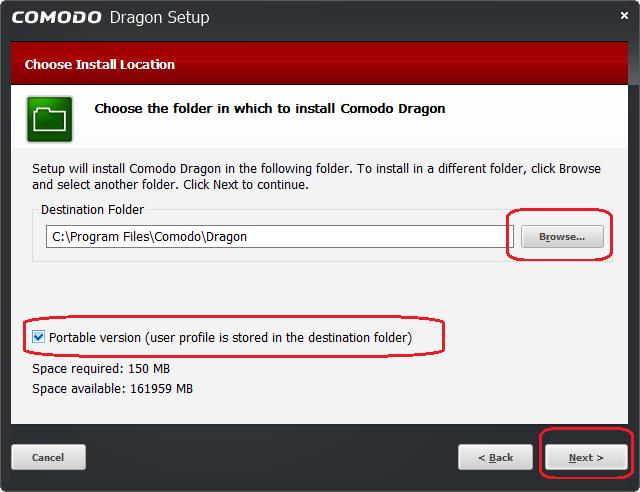 Comodo Dragon portable install